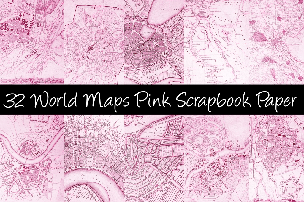 World Maps Pink Scrapbook Paper Download Collection by Squeeb Creative
