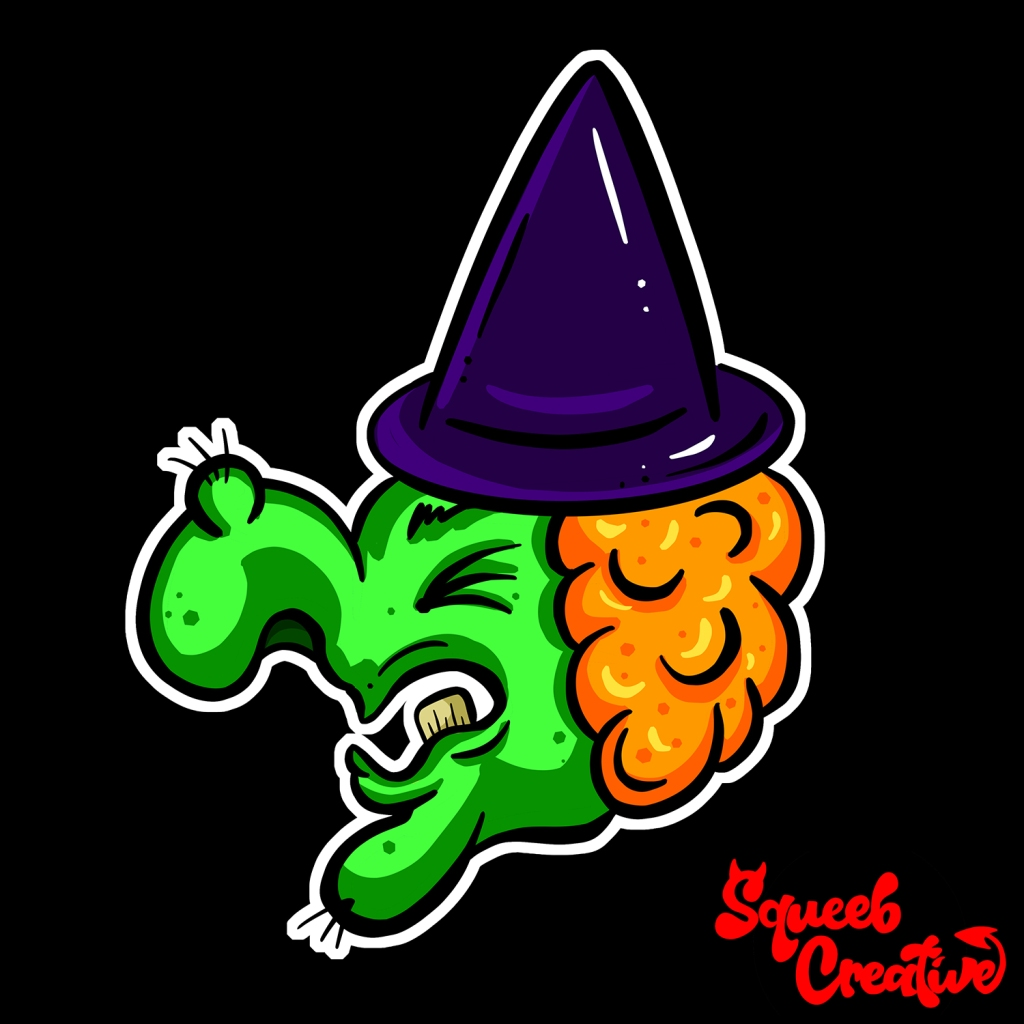 Scary Green Witch Halloween Cartoon by Squeeb Creative