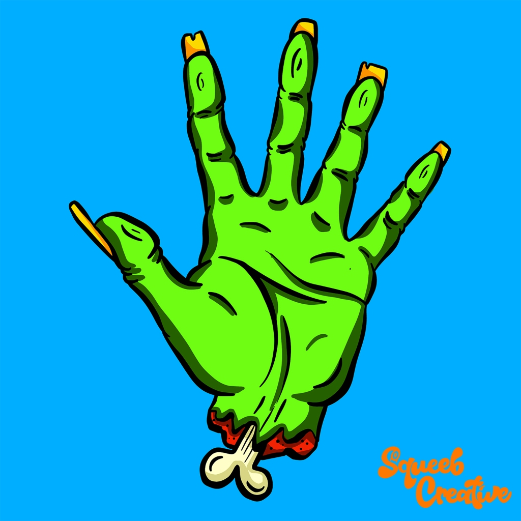 Undead Walking Dead Severed Hand Cartoon Zombie Hello by Squeeb Creative