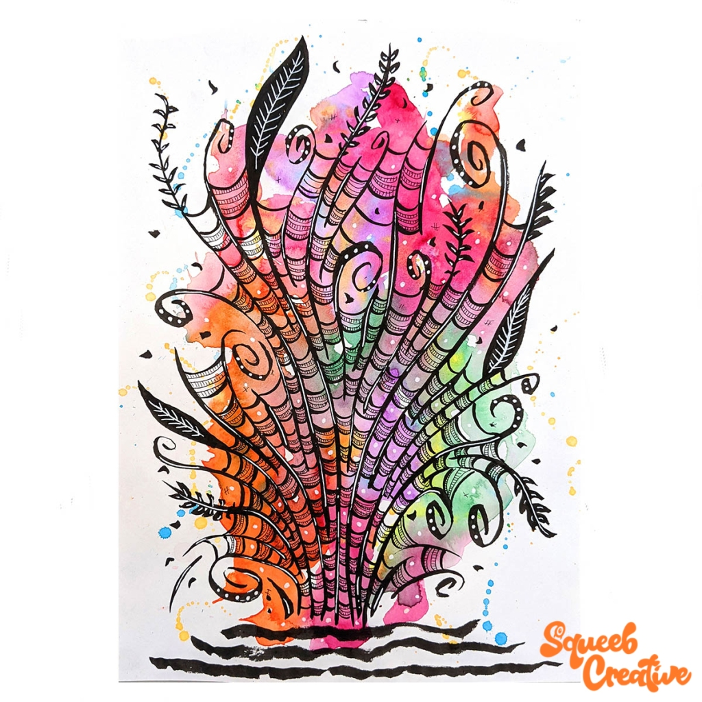 Watercolour and Ink Abstract Art Painting by Squeeb Creative