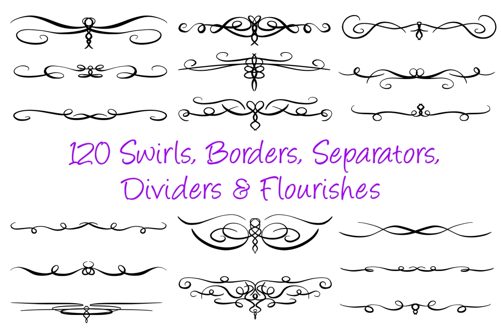120 Swirl Borders Separator Dividers _ Flourishes Collection by Squeeb Creative