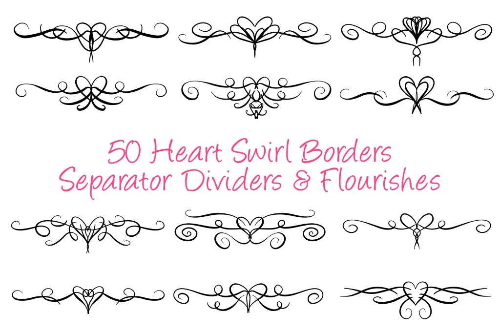 50 Heart Lines Dividers Borders Flourishes Design Bundles Squeeb Creative