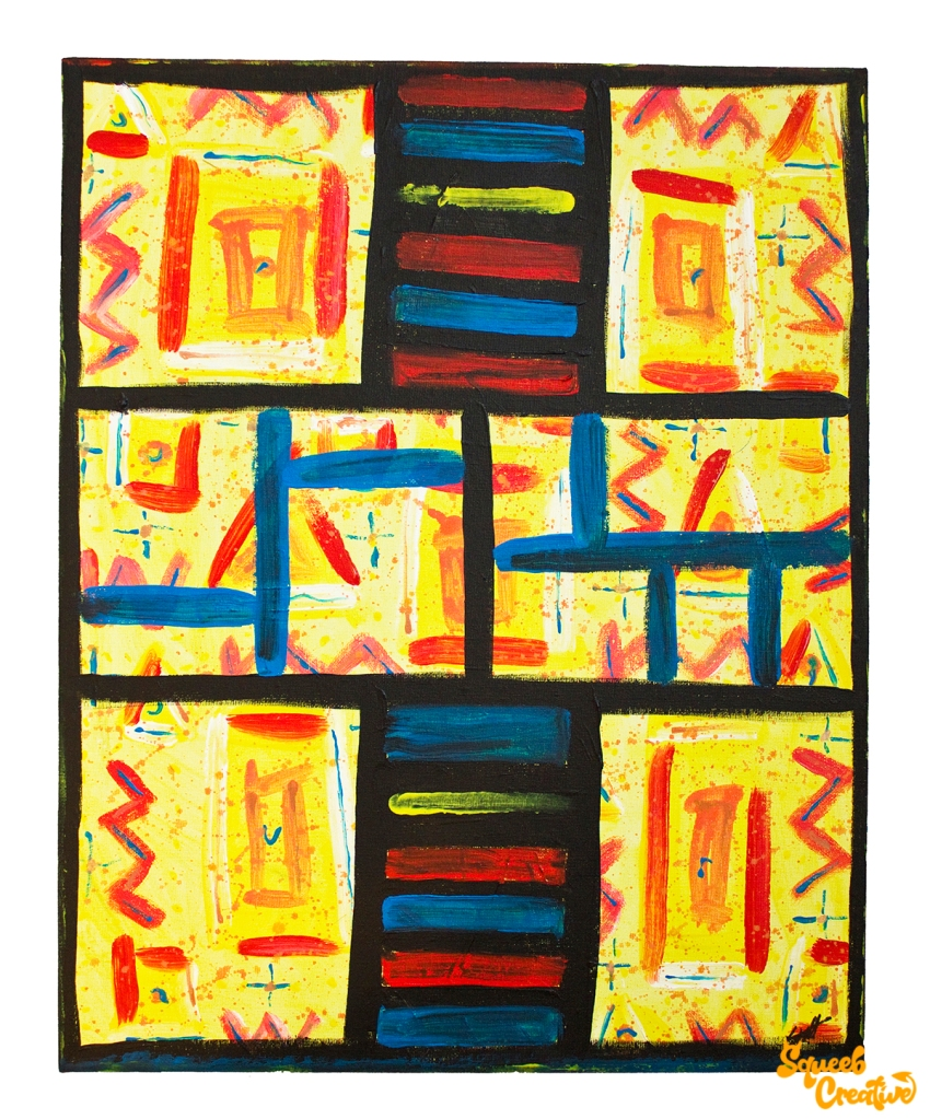 Acrylic and Ink Tribal Abstract Painting Art by Squeeb Creative Artist