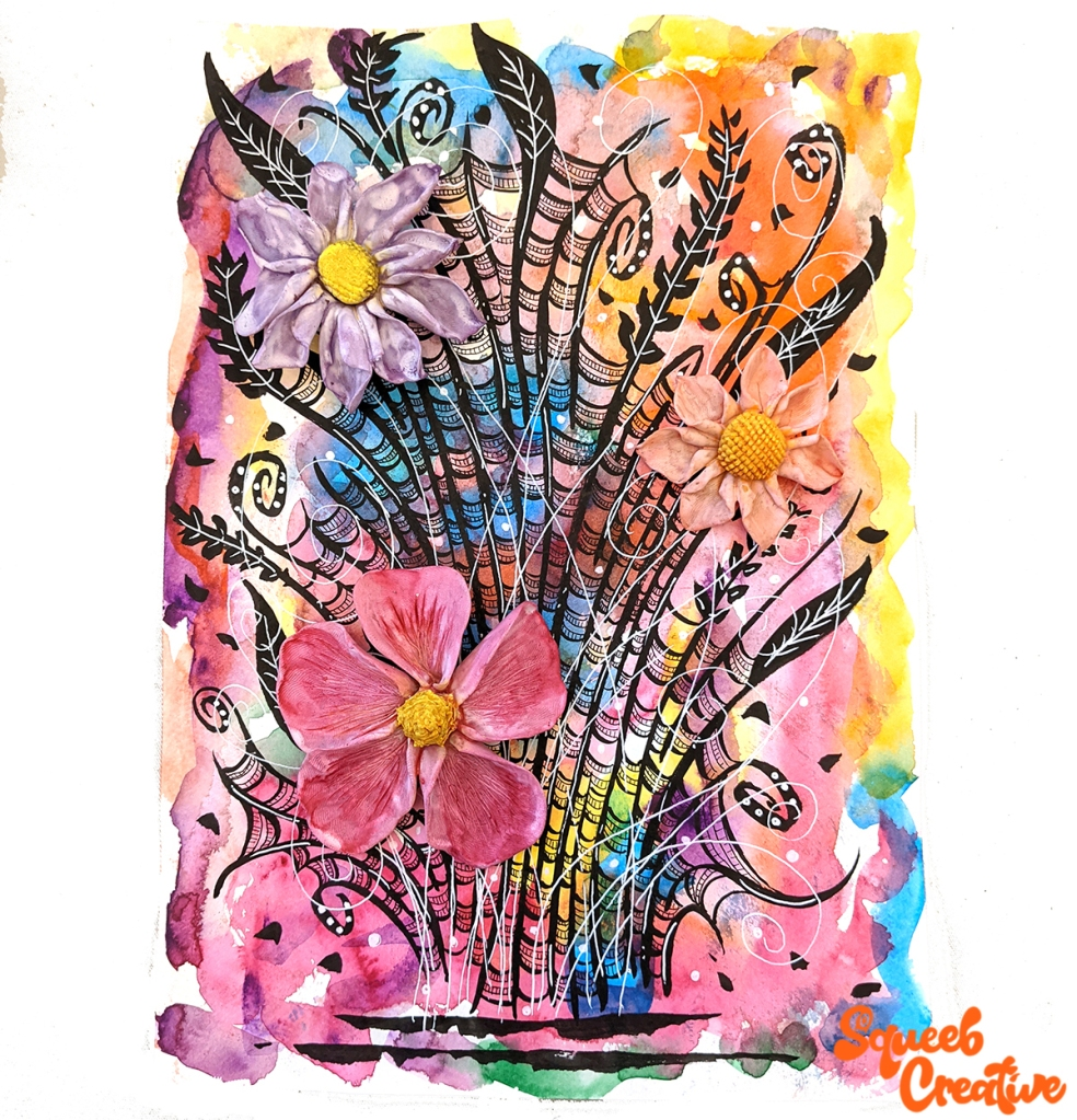 Watercolour Polymer Clay Flowers and Ink Abstract Painting Art by Squeeb Creative Artist