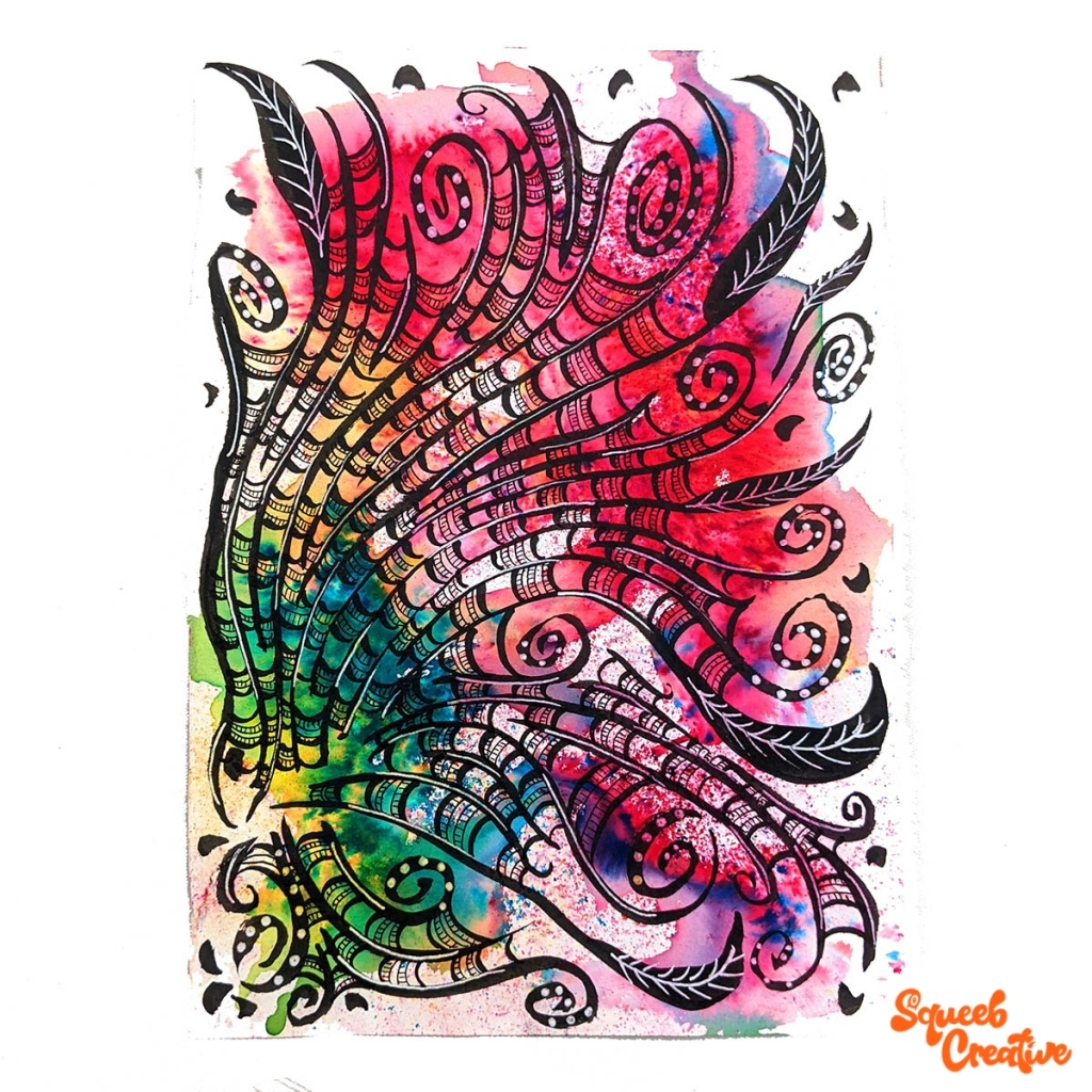 Watercolour and Ink Abstract Painting Art by Squeeb Creative Artist floral