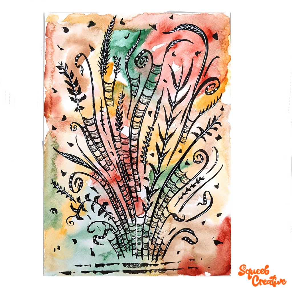 Watercolour and Ink Abstract Painting Art by Squeeb Creative Artist